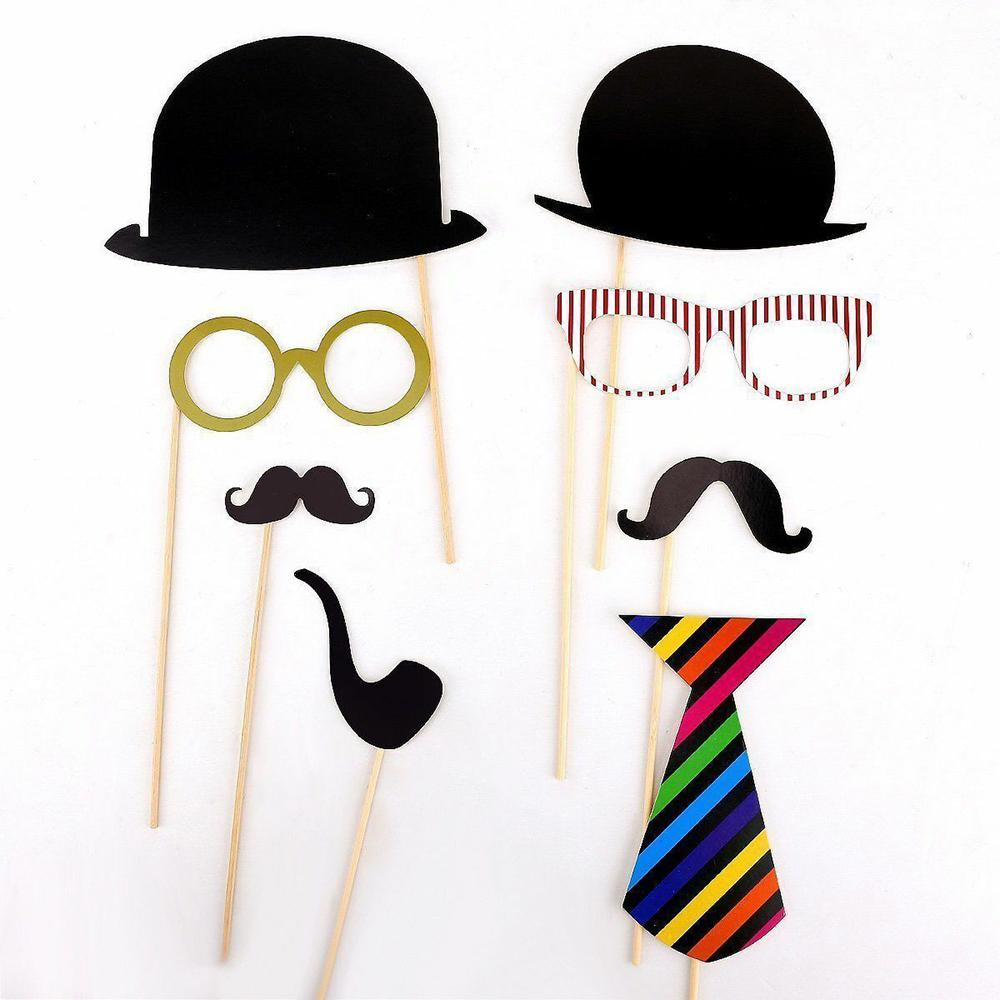 58PCS Masks Photo Booth Props Mustache On A Stick Birthday Wedding Party DIY TDH