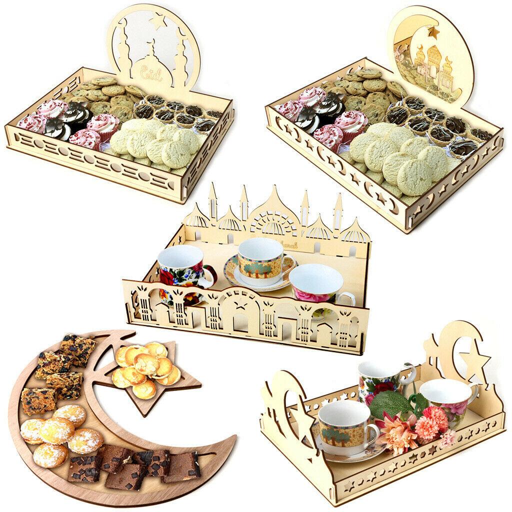 Muslim Wooden Eid Mubarak Ramadan Table Decor Dessert Pastry Party Serving Tray Ebay