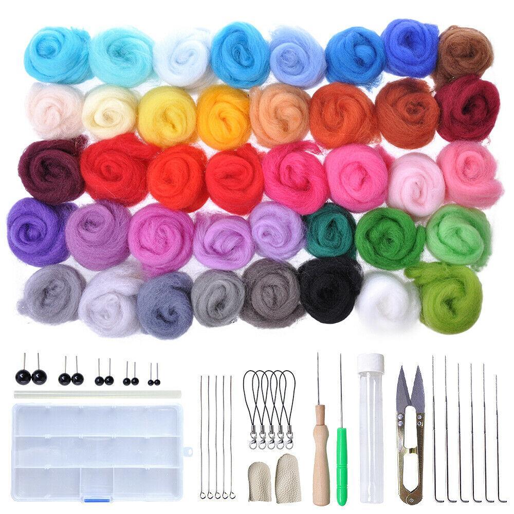 DIY Felting Craft Needles Tool Set Kit Gifts Craft Tools 40 Colors Wool Felts