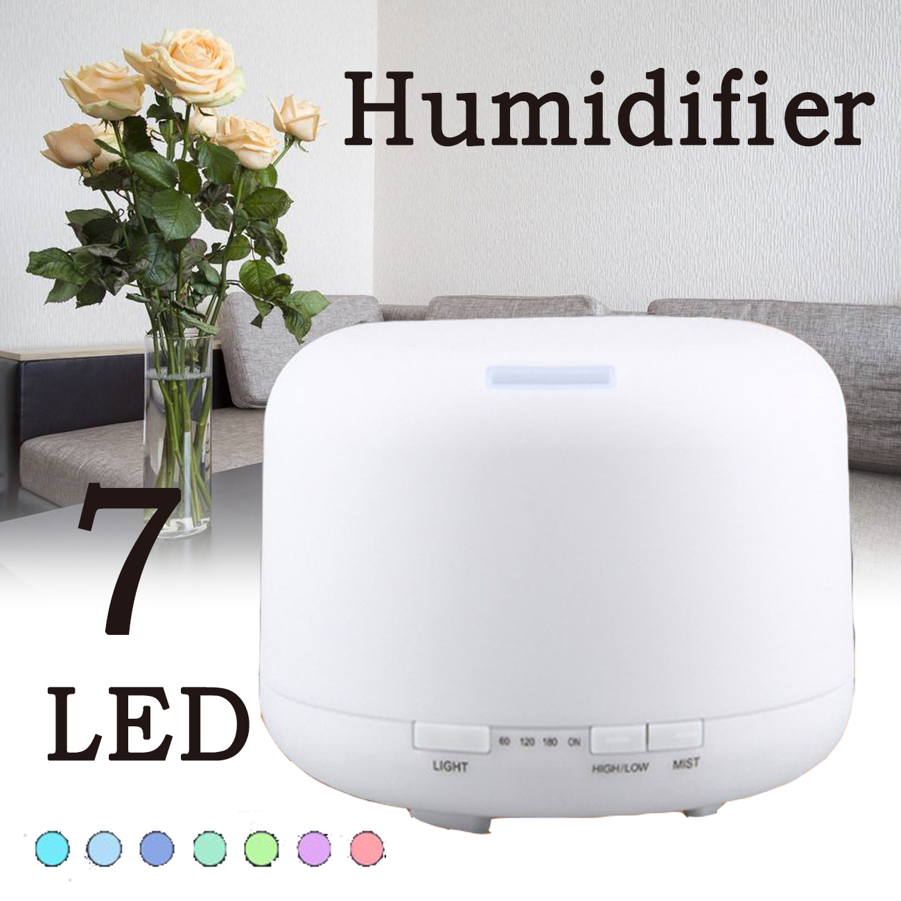 500ML 7 LED Humidifier Air Atomizer Aroma Essential Oil Diffuser Aromatherapy