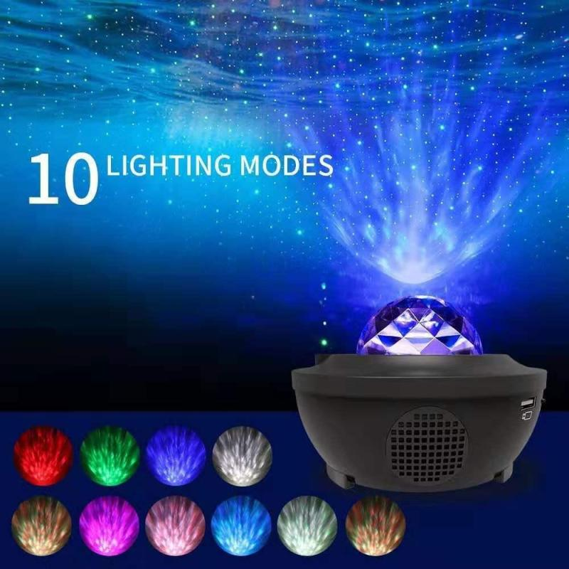 Disco Lights for Party LED Projection Lamp Stage Light Starry Projector Mood Lighting for Kids Festival Birthday Ocean Wave Projector Night Light Effects with Remote Control Bluetooth Speaker