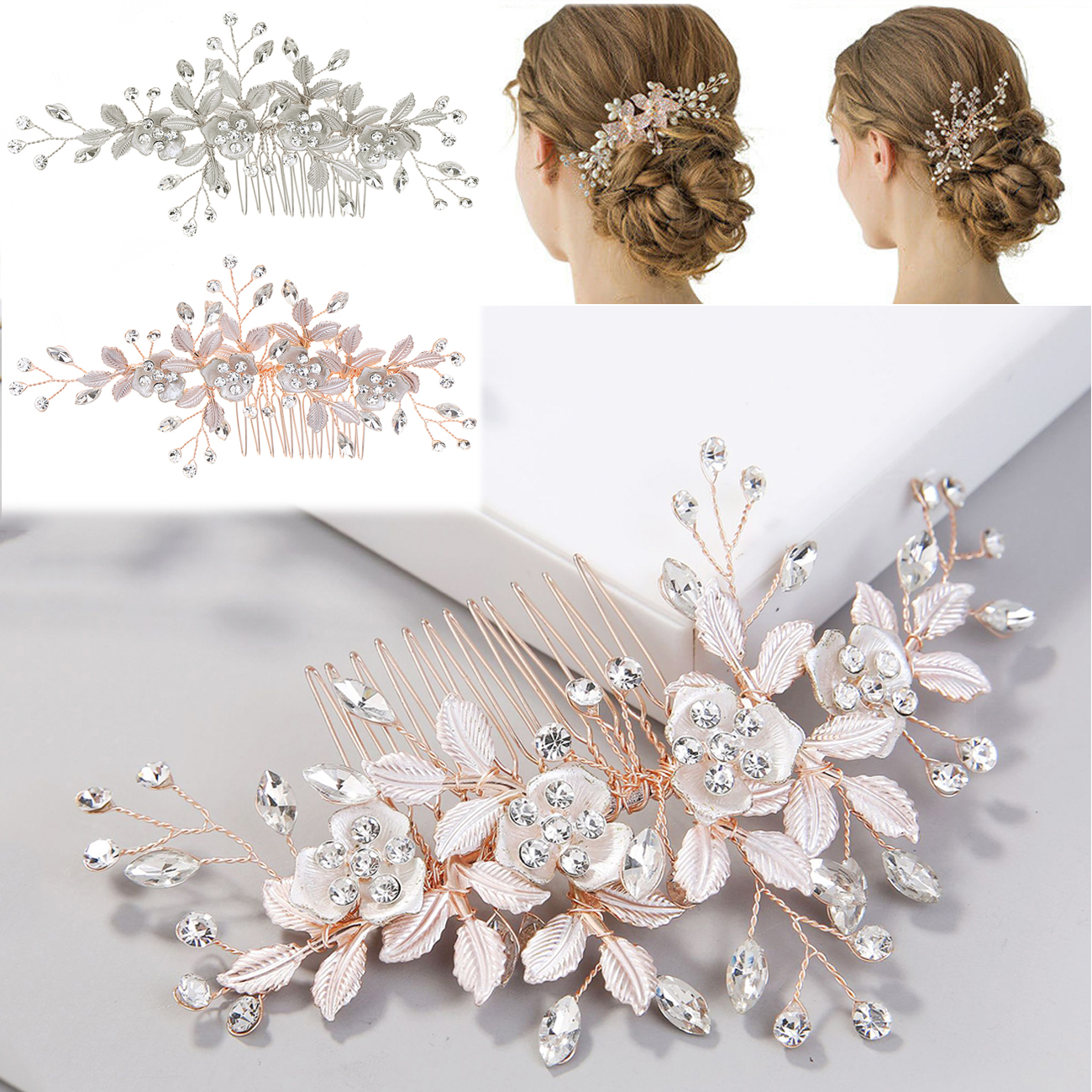 Leaves Flower Crystal Hair Comb Wedding Hair Accessories Bride Hair Clip Jewelry Ebay