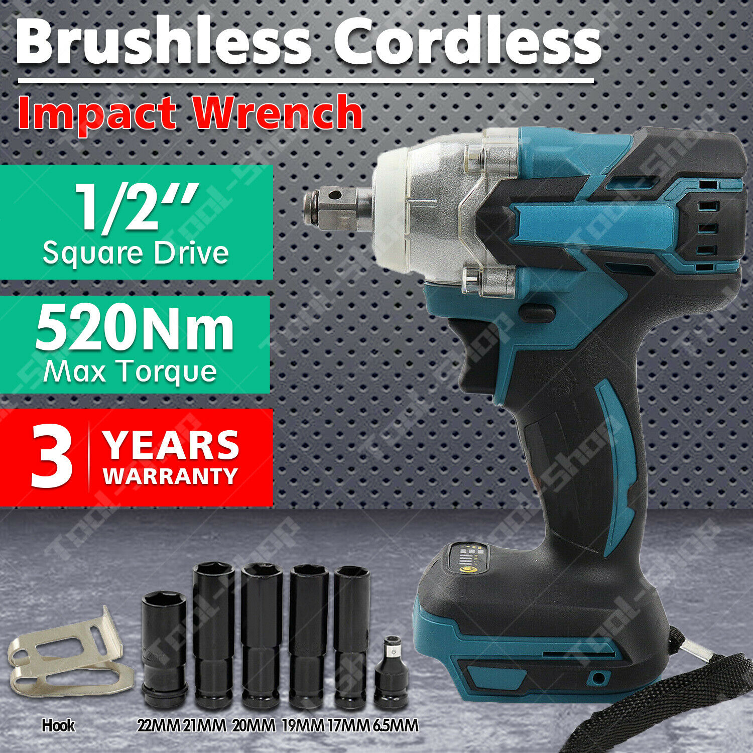 """Cordless Brushless 18V 520N.m Impact Wrench 1//2/"""" Square Drive For Makita Battery"""