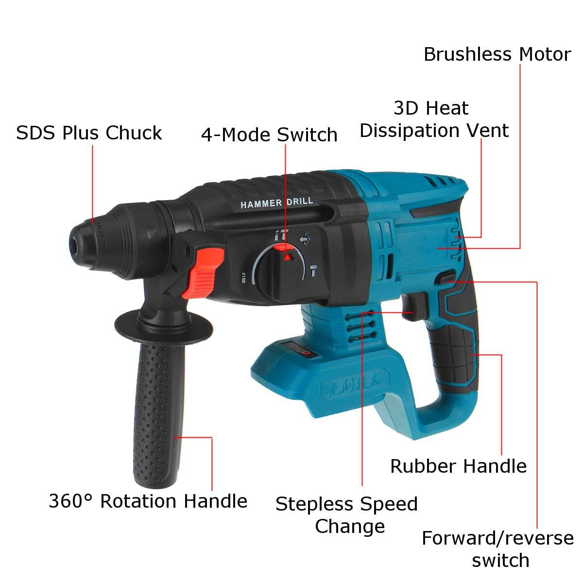 Bohrhammer Bürstenlos Schlagbohrer Bohrmaschine Akku-Bohrer für Makita 21V Akku