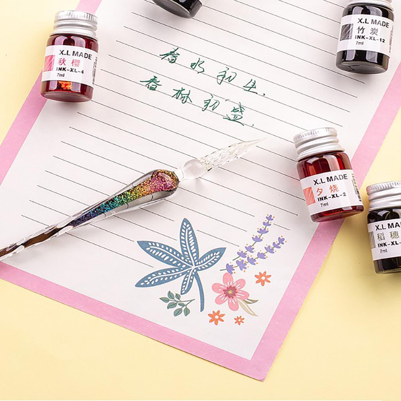 Novelty Glass Dip Nib Ink Fountain Pen Signature Pen Writing Tool 1PC Pink