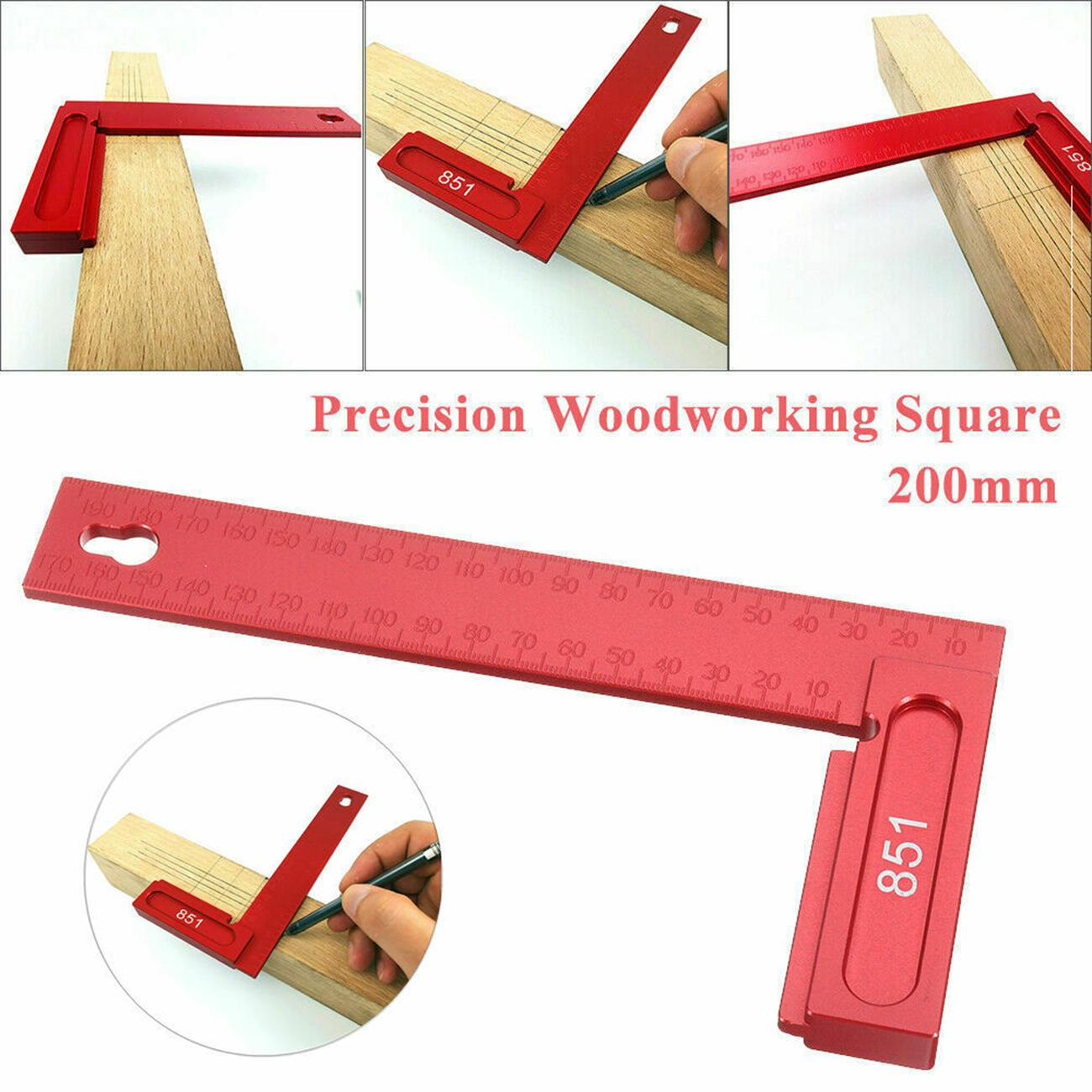 0-200mm Positioning Ruler 851 Square Carpenter Tool Aluminum Alloy L-Shaped Woodworking 90 Degrees Picture Frames for clamp to Boxes Carpenter Ruler