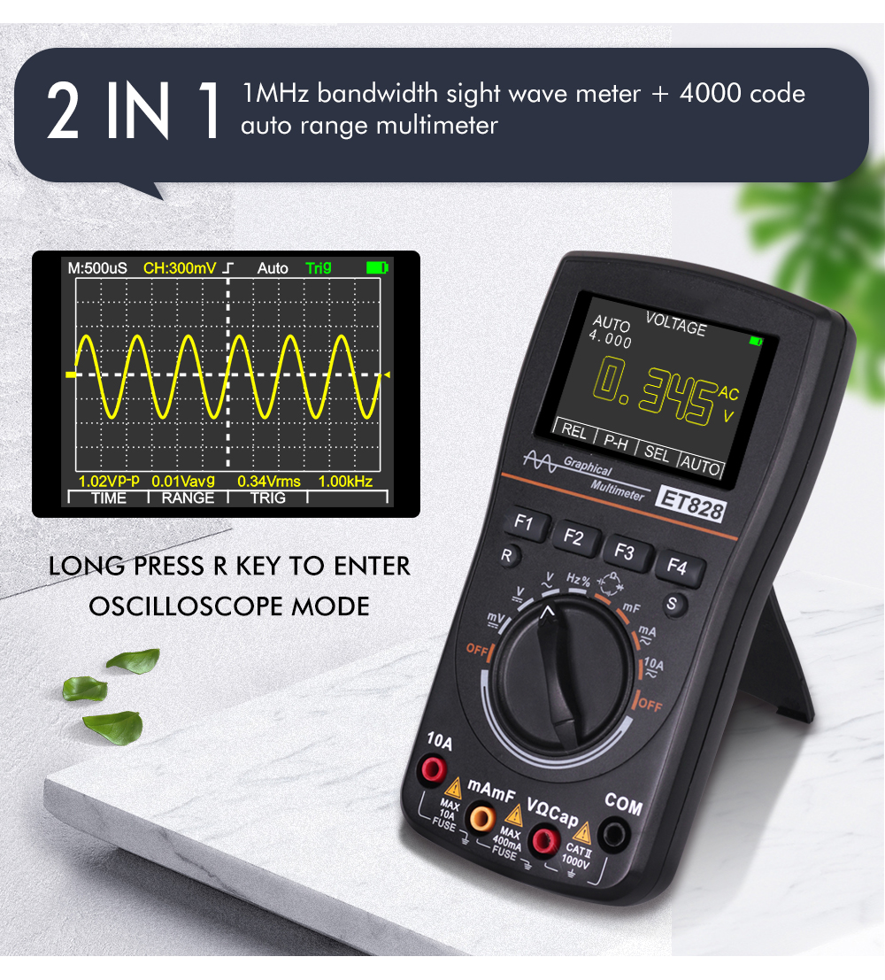 S Multimeter AC//DC ET827 2 in 1 Digital Intelligent Oszilloskop 40MHz 200Msps