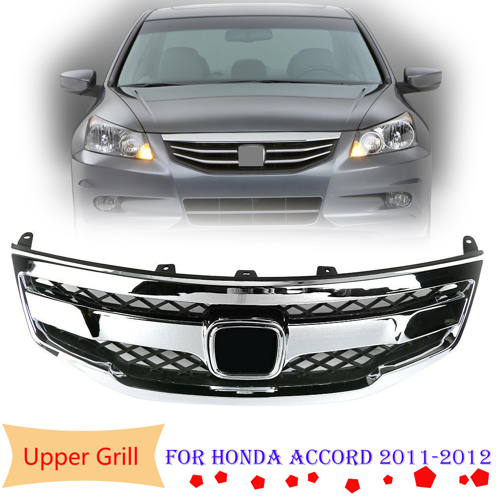 For Honda Accord Radiator Bumper Grille Front Upper Chrome Grill 2011-2012