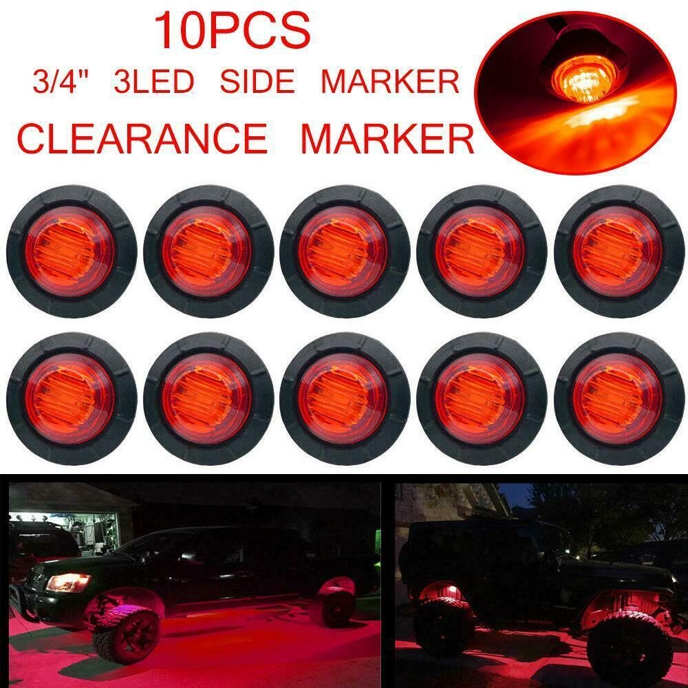 "50X 3//4/"" Side Marker Light 3 SMD Red LED Truck Trailer RV Stainless Steel US"