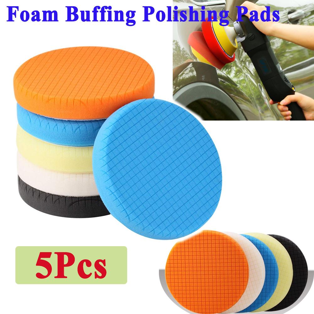 5Pcs 6inch Buffing Sponge Polishing Pad Kit Waxing Car Auto Polisher Use