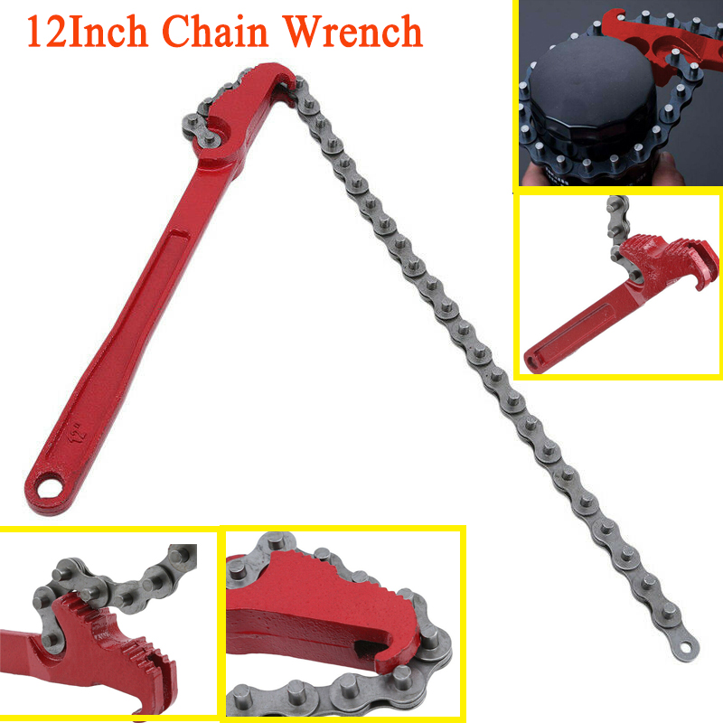 Adjustable Chain Grip Wrench Oil Filter Pipe Fitting Spanner Remover