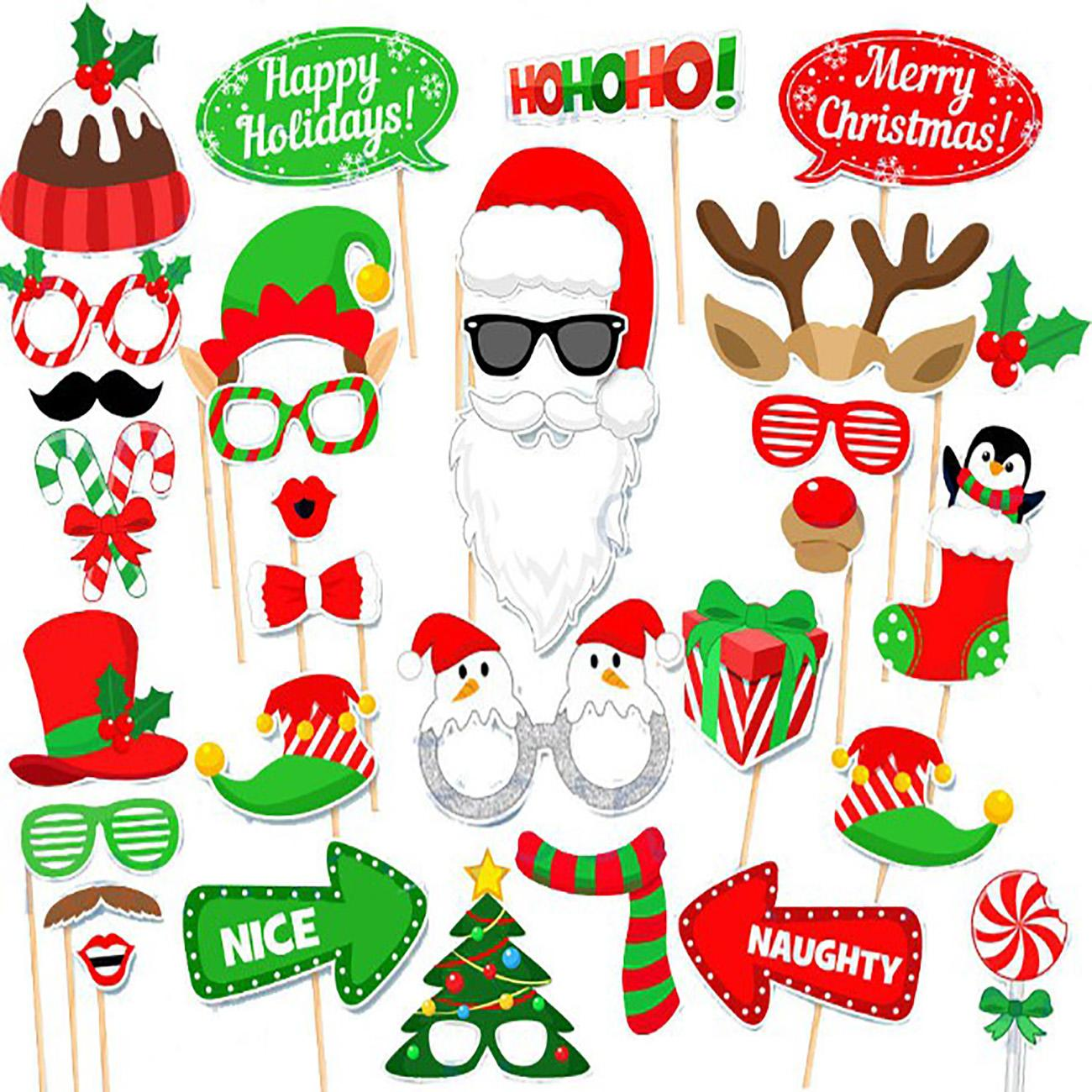20PCS CHRISTMAS PHOTO BOOTH PROPS XMAS PARTY SELFIE FUN SET FUNNY