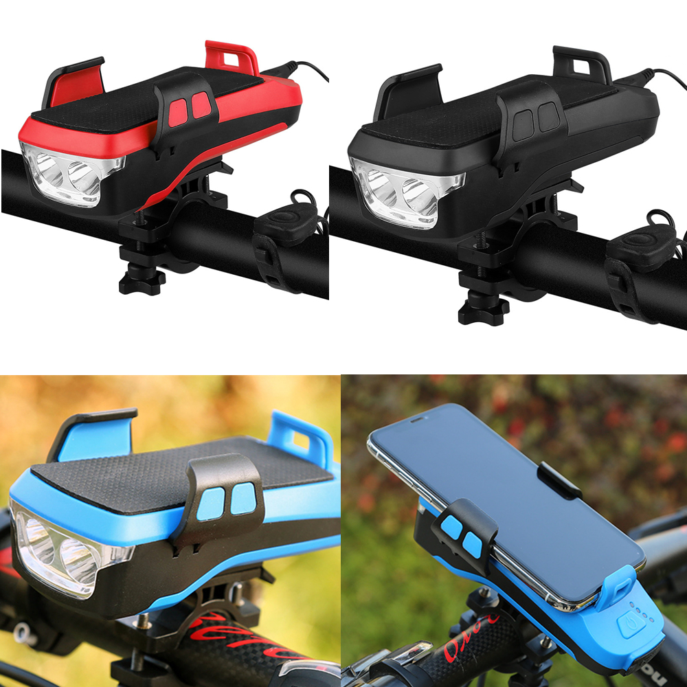 Waterproof Bicycle Front Light with 4000mAh Power Bank//Bike Horn//Phone Holder