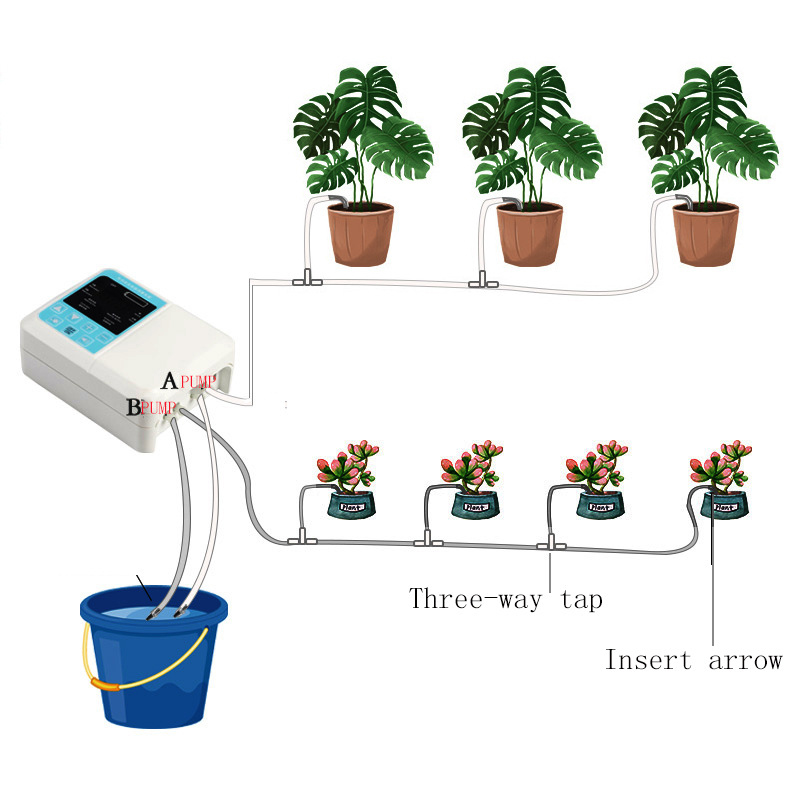 10m Drip Water Irrigation System Auto Watering Plant Timer w//Solar Panel Powered